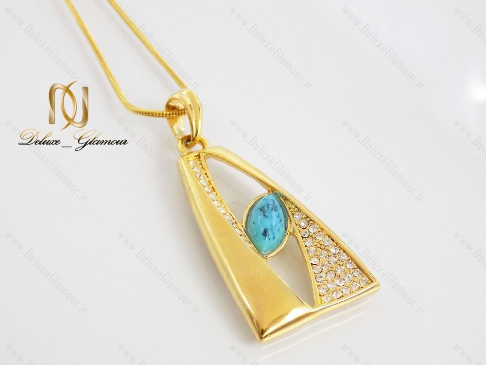 گردنبند تکی زنانه سنگ فیروزه نگین دار طرح طلا کد NW-n104 از مقابل