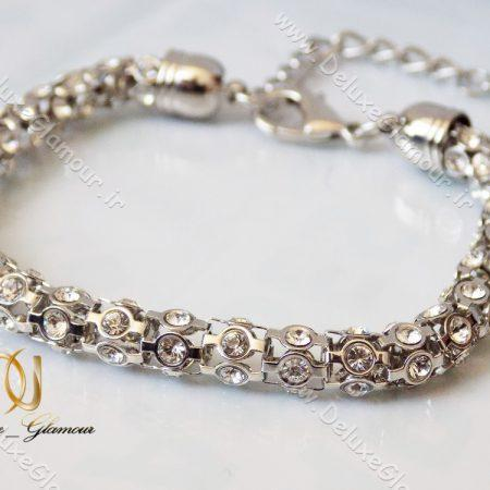 دستبند دخترانه بافت نقره ای نگین دار زرهی ds-n124