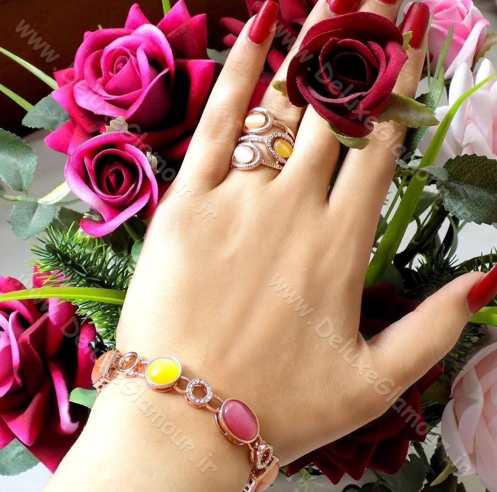 انگشتر زنانه کلیو با سنگ اپال و المان سواروسکی rg-n121