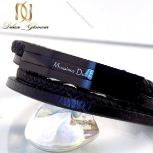 دستبند چرمی massimo dutti چند ردیفه مردانه مشکی ds-n146 روی سنگ