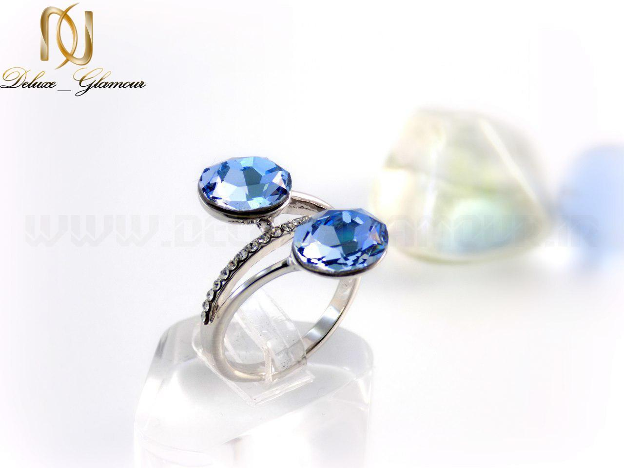 انگشتر ارزان قیمت با کریستال سواروسکی آبی رنگ