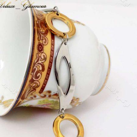 دستبند دخترانه فشن طلایی و نقره ای استیل ds-n136 طرح دیگر