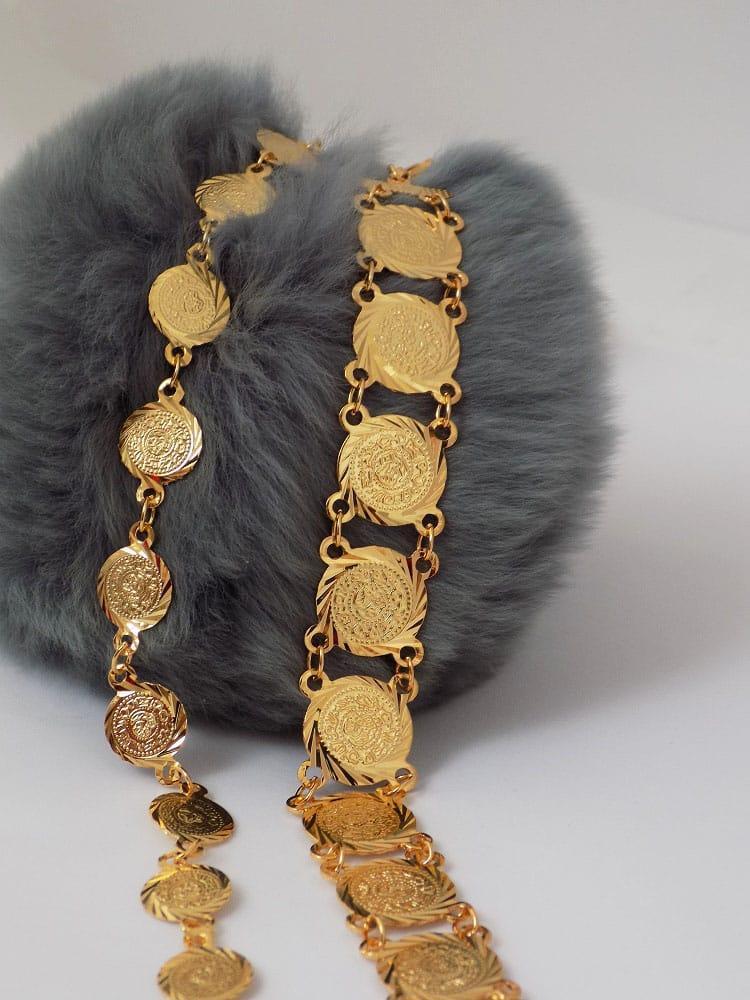 دستبند سکه ای طرح طلا دخترانه - سکه ریز ds-n12 کنار دستبند سکه ای طرح بزرگ