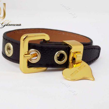 دستبند چرمی دخترانه مشکی آویزدار قلب ds-n133