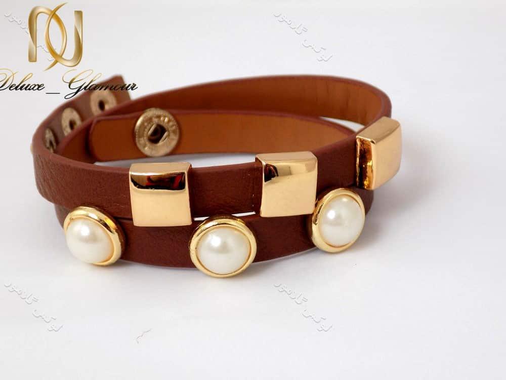 دستبند چرمی دخترانه قهوه ای نازک ds-n129 سمت راست