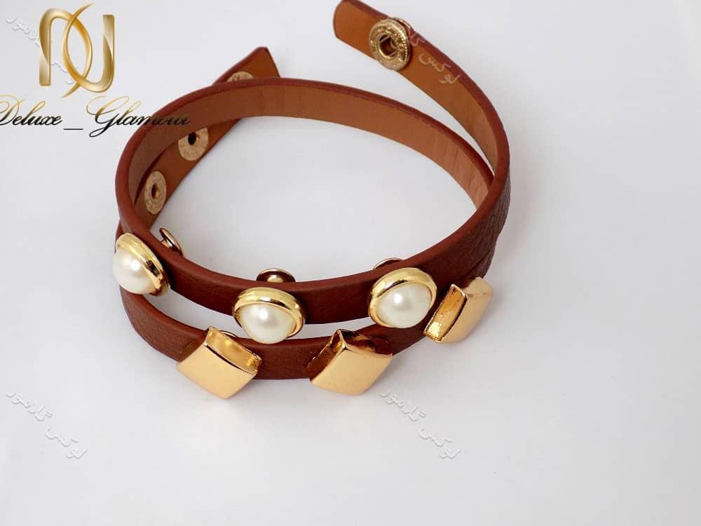 دستبند چرمی دخترانه قهوه ای نازک ds-n129