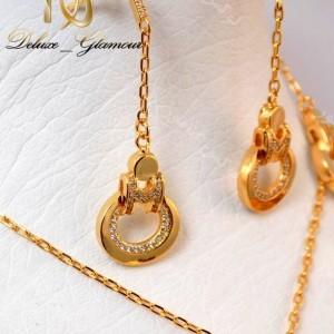 سرویس کامل زیورآلات طرح طلا جنس استیل با استایل گرد se-n98 گوشواره های آویزی