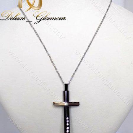 گردنبند اسپرت طرح صلیب استیل مشکی نقره ای کد Nw-n112