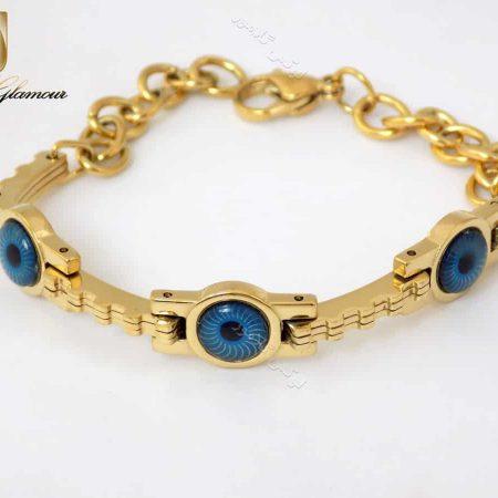 دستبند دخترانه استیل طلایی طرح مردمک زنجیری ds-n135