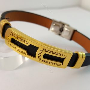 دستبند چرمی مردانه یک ردیفه مشکی طلایی قفل جعبه ای ch-103 از نمای دیگر
