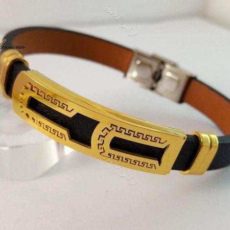 دستبند چرمی مردانه یک ردیفه مشکی طلایی قفل جعبه ای ch-103