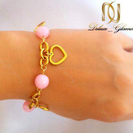 دستبند دخترانه استیل آویزدار طلایی-صورتی ds-n131 از دست