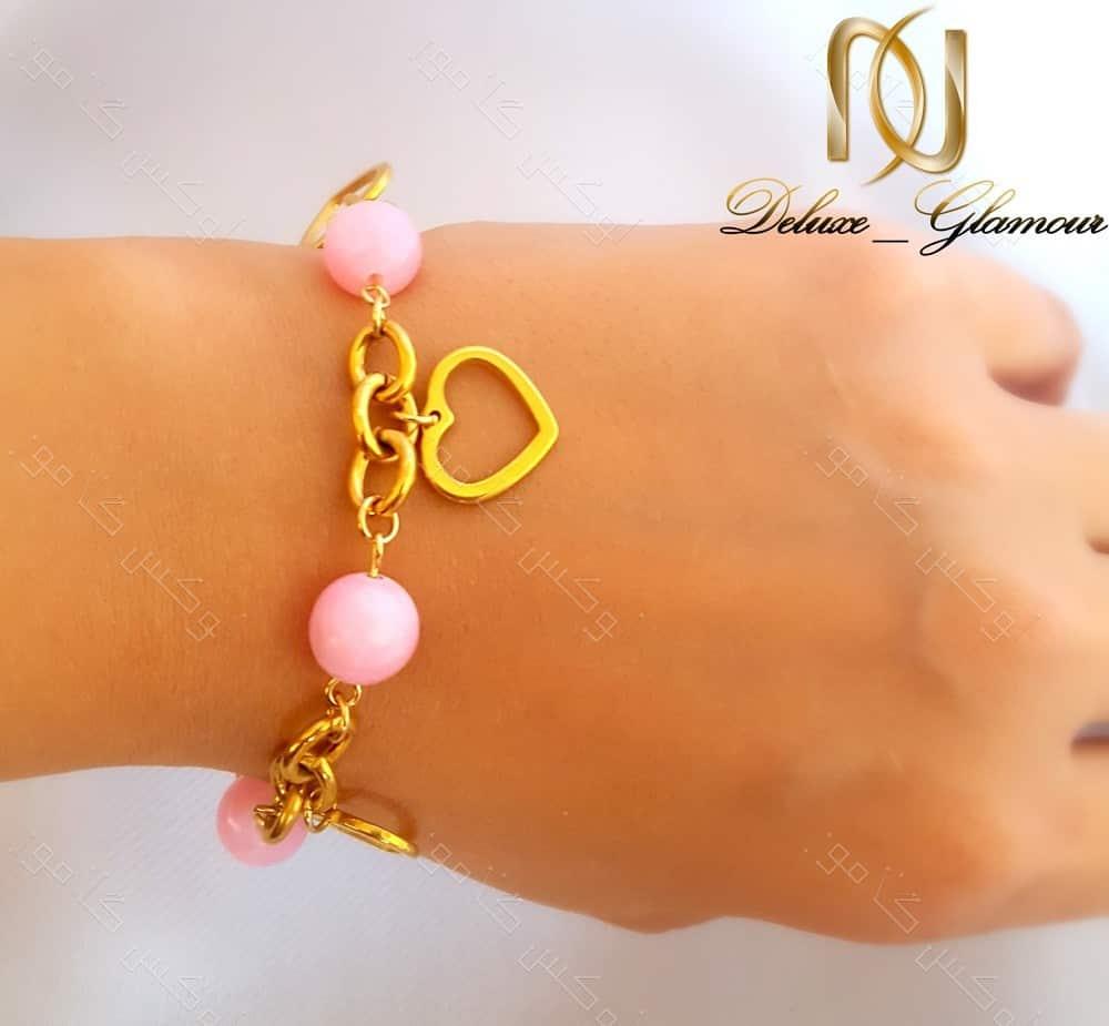 دستبند دخترانه استیل آویزدار طلایی-صورتی ds-n131