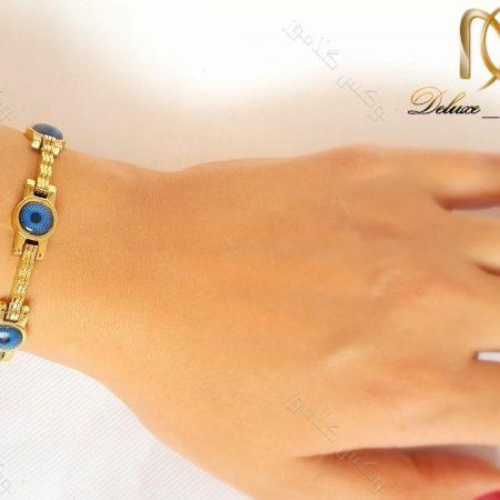 دستبند دخترانه استیل طلایی طرح مردمک زنجیری ds-n135 از دست