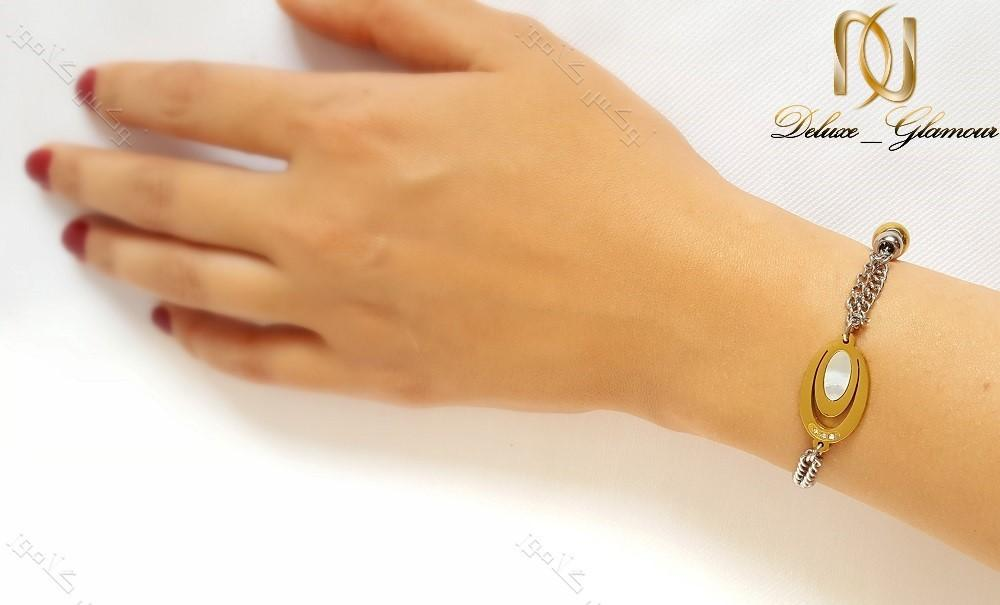 دستبند استیل دخترانه با سنگ چشم گربه ds-n132 از دست