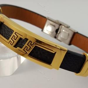 دستبند چرمی مردانه تک ردیفه مشکی-طلایی با قفل جعبه ای ch-104