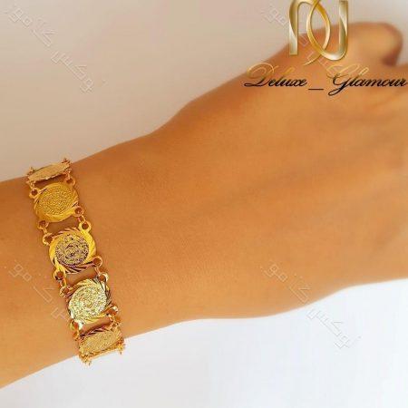 دستبند سکه ای دخترانه طرح طلا - سکه بزرگ ds-n127 بر روی دست