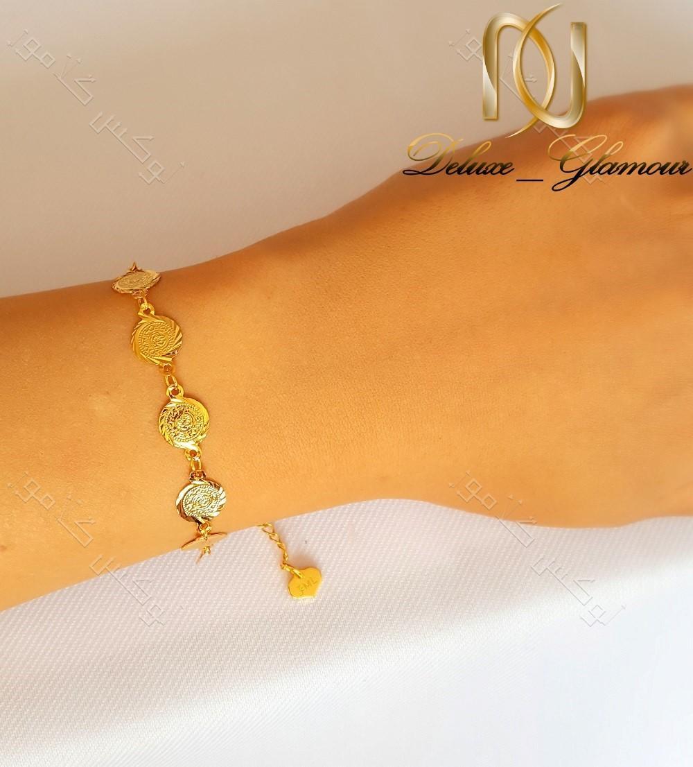 دستبند سکه ای طرح طلا دخترانه - سکه ریز ds-n128 بر روی دست