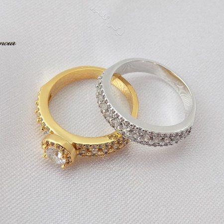 انگشتر و پشت حلقه دخترانه با المان های سواروسکی طلایی و نقره ای rg-n127 جدا از هم