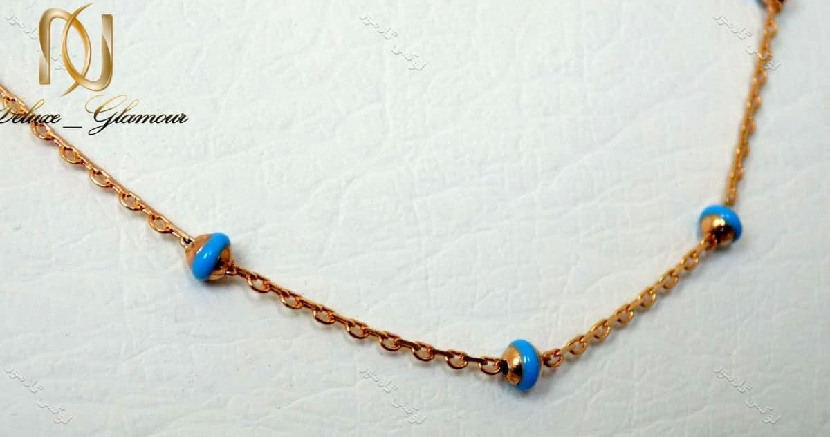 زنجیر طلایی دخترانه ی مهره ای ژوپینگ طرح فیروزه Nw-n115
