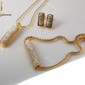 سرویس دخترانه نگین کریستالی طرح swatch طلایی se-n107 از بالا