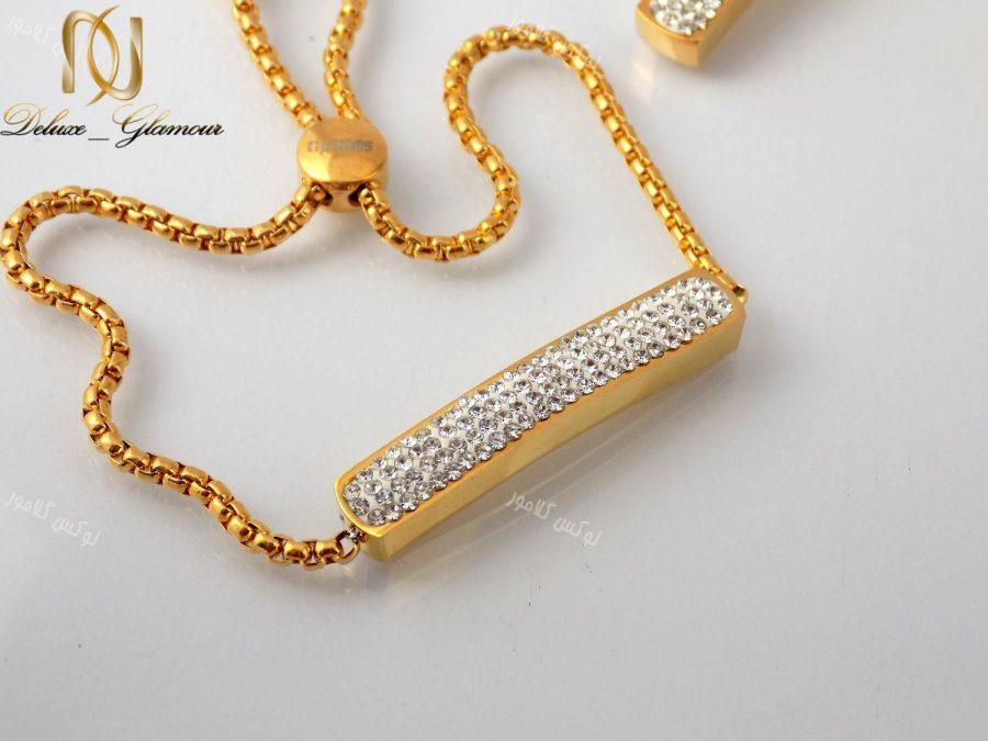 سرویس دخترانه نگین کریستالی طرح swatch طلایی se-n107 دستبند
