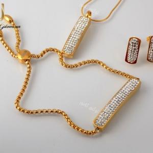 سرویس دخترانه نگین کریستالی طرح swatch طلایی se-n107 ست