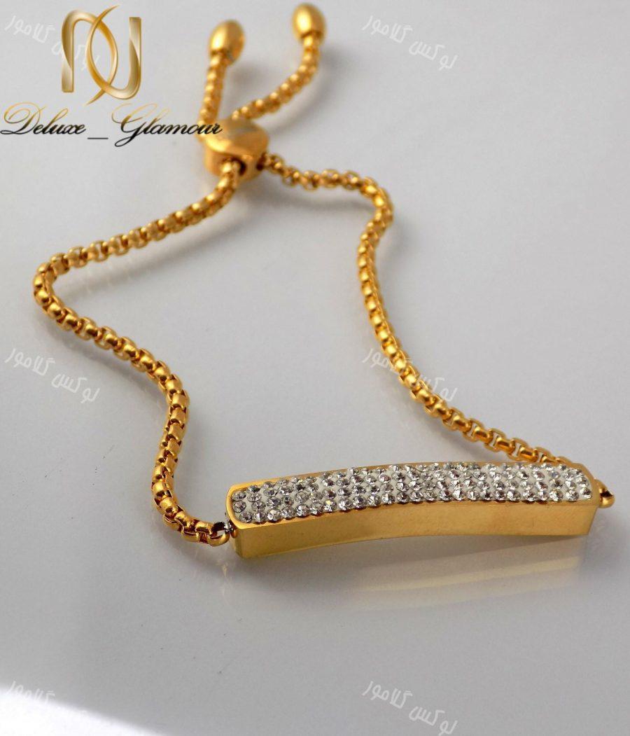 سرویس دخترانه نگین کریستالی طرح swatch طلایی se-n107 دستبند مارشالی