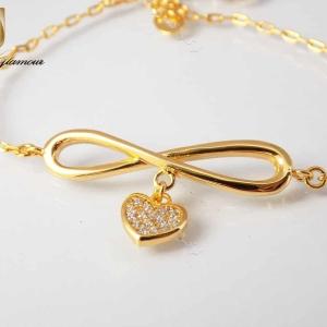سرویس زیورآلات زنانه طرح طلا بی نهایت infinite ظریف se-n106 دستبند از روبرو