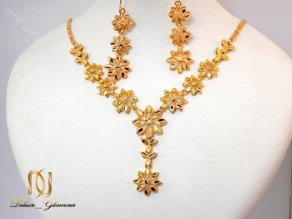 نیم ست گردنبند و گوشواره طرح طلای برنجی زنانه Ns-n121 روبرو