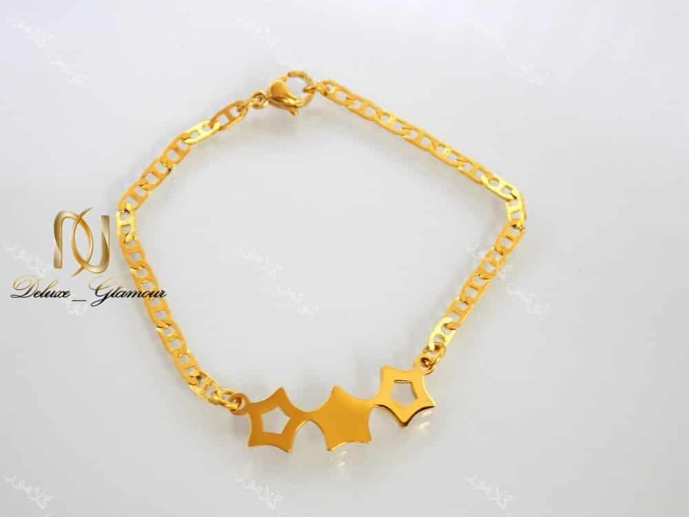 دستبند دخترانه بچگانه استیل طرح سه ستاره ds-n142