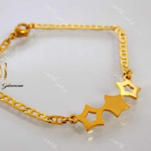 دستبند دخترانه بچگانه استیل طرح سه ستاره ds-n142 از کنار