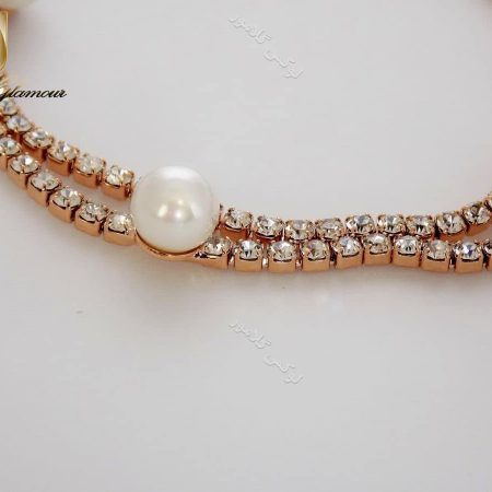 دستبند دخترانه دو دور مرواریدی رزگلد کلیو DB-102 از مروارید از بالا