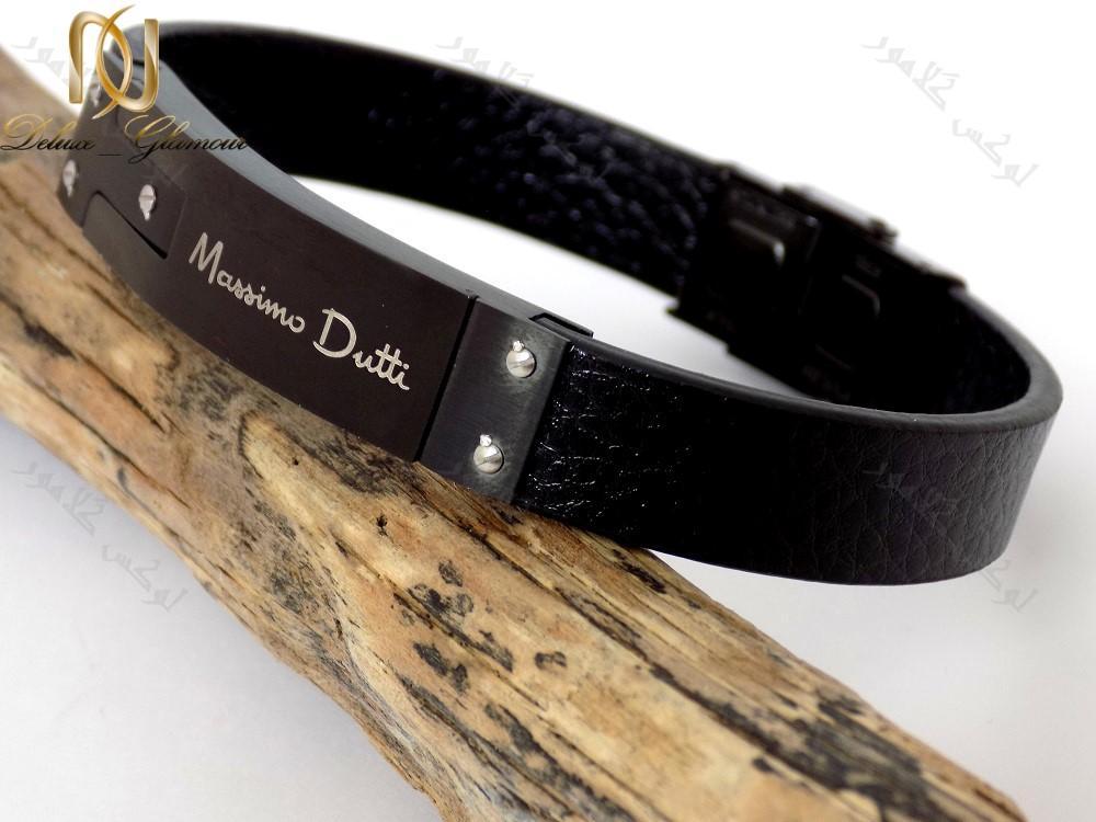 دستبند چرمی مردانه مشکی چند ردیفه با فلز استیل از کنار
