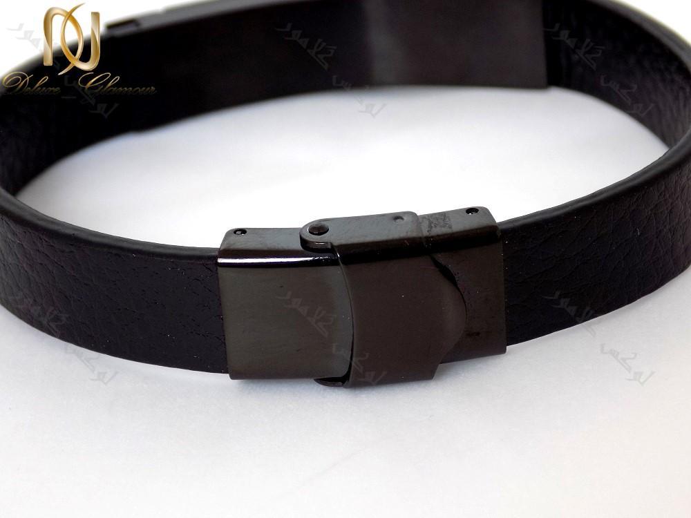 دستبند چرمی مردانه مشکی چند ردیفه با فلز استیل