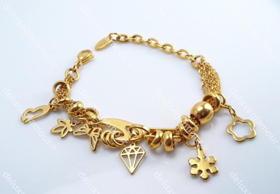 دستبند دخترانه فشن آویز دار طلایی 1