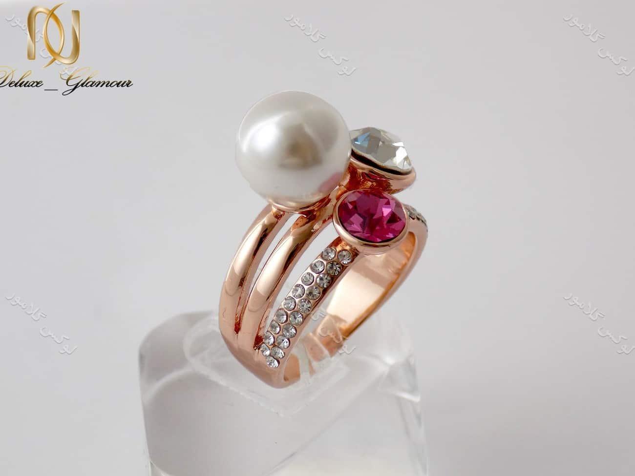 انگشتر دخترانه سه ردیفه کلیو با کریستال بنفش و هفت رنگ ng-n131