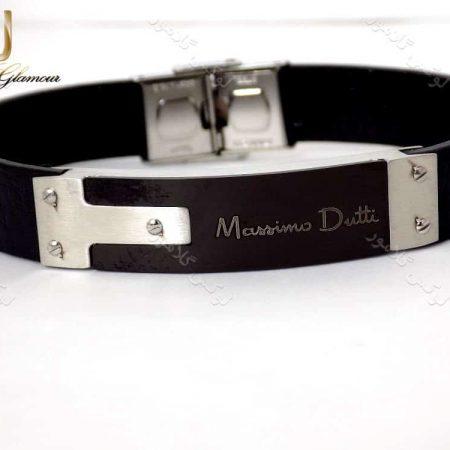 دستبند چرمی مردانه تم مشکی نقره ای massimo dutti کد ds-n148