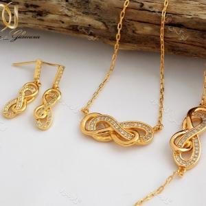سرویس طرح طلا بی نهایت infinite زنانه استیل ظریف se-n95 کنار هم دکور