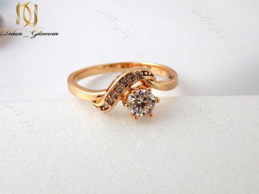 انگشتر دخترانه طرح طلای ژوپینگ با نگین های باگت rg-n129