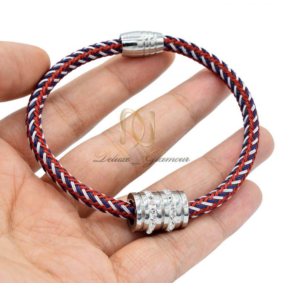 دستبند دخترانه کنف سه رنگ با قفلی مگنت pr-b128