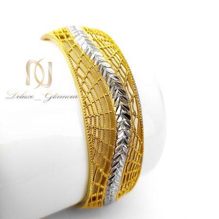 دستبند زنانه استیل طلایی دو رنگ pr-b133