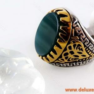 انگشتر استیل، سنگ عقیق مردانه
