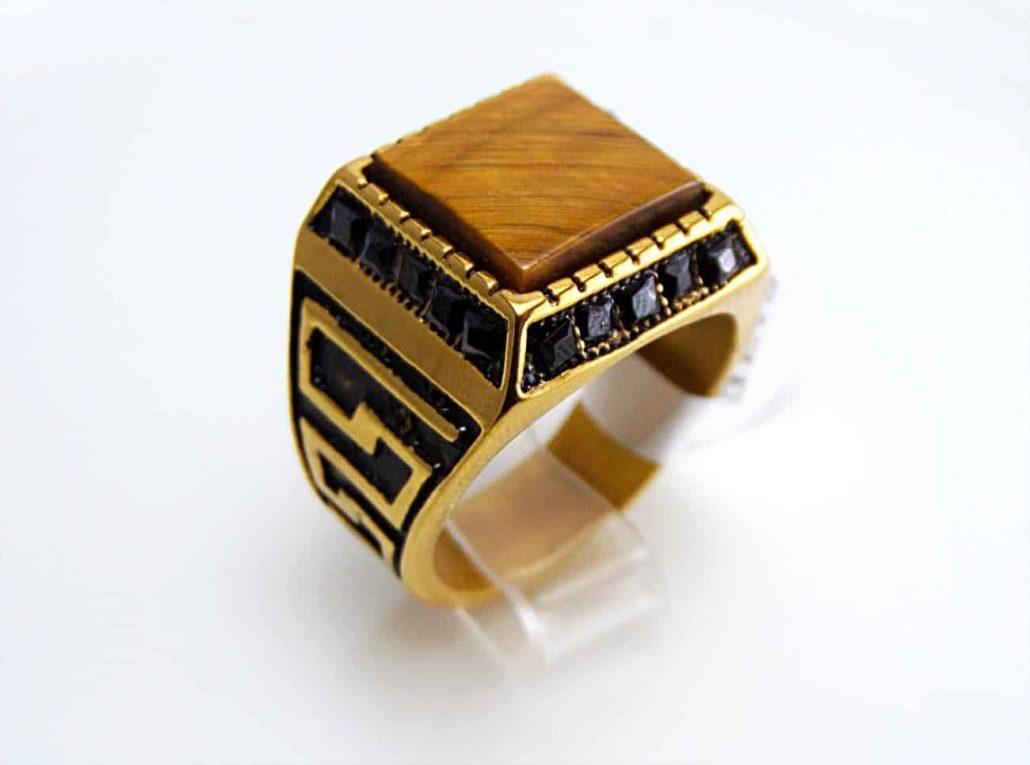 انگشتر مردانه استیل اسپرت سنگ عقیق قهوه ای rg-n147