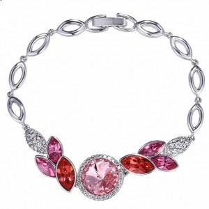 دستبند دخترانه ژوپینگ روکش رادیوم با المان های سوارسکی اصل pr-b142 از نمای روبرو