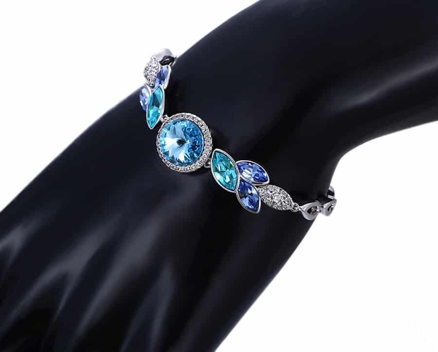 دستبند دخترانه ژوپینگ روکش رادیوم با المان های سوارسکی اصل pr-b142 از نمای کنار