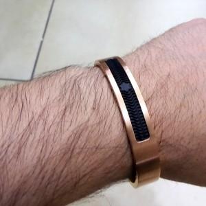 دستبند مردانه استیل رنگ رزگلد مونت بلانک(pr-d104 (MONT BLANC از نمای بالا