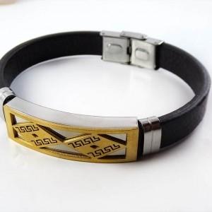دستبند مردانه چرمی با رویه استیل و روکش آب طلای 18 عیار PR-D103 از نمای روبرو