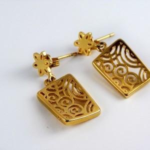 نیم ست زنانه استیل طرح طلا با طرح مکعب و مارپیچ pr-s127 از نمای گوشواره