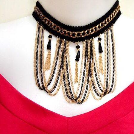 گردنبند چوکر گیپوری دور رنگ با آویز های زنجیری 10 سانتی pr-g112